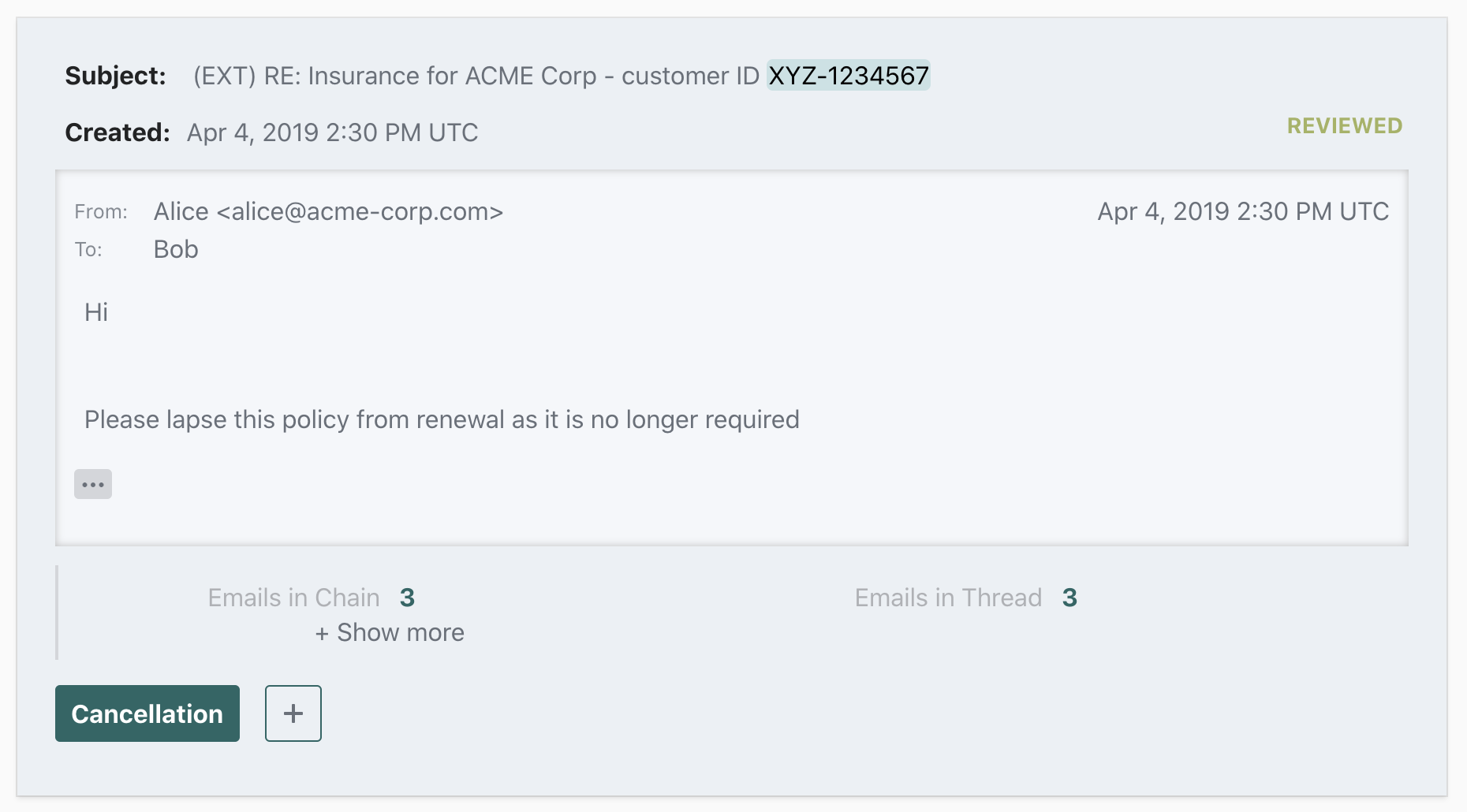 "Reviewed comment with assigned ""Cancellation"" label and extracted ""Customer ID"" entity"